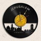 Jerusalem Skyline Wall Clock Vinyl Record Clock Upcycled Gift Idea