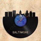 Baltimore Skyline Wall Clock Vinyl Record Clock Upcycled Gift Idea