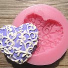 HEART SHAPED LACE FONDANT SILICONE MOLD