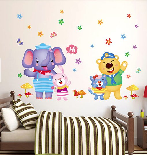 children animals wall sticker