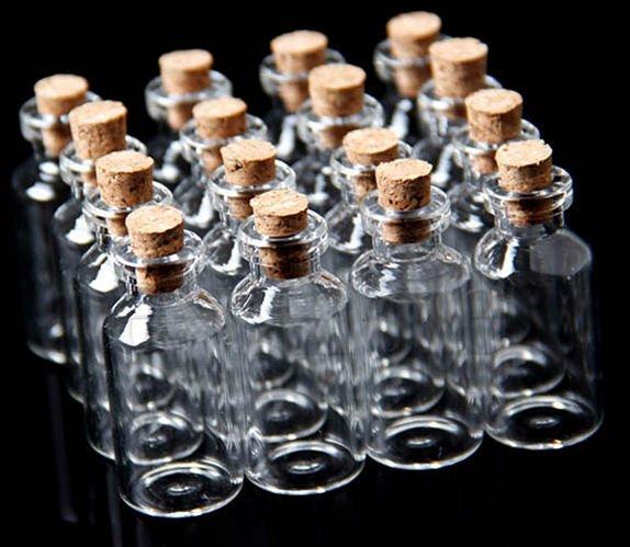 10Pcs 18x40mm Mini Clear Glass Bottles