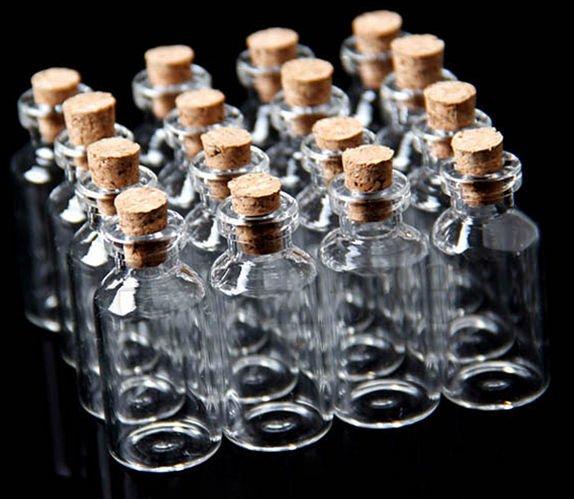 20Pcs 18x40mm Mini Clear Glass Bottles