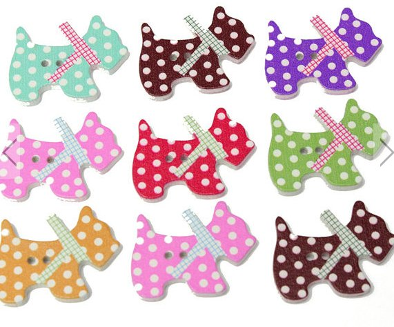 50pcs dog style wooden buttons