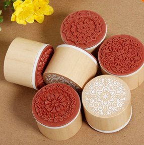 6 pieces wooden stamp set