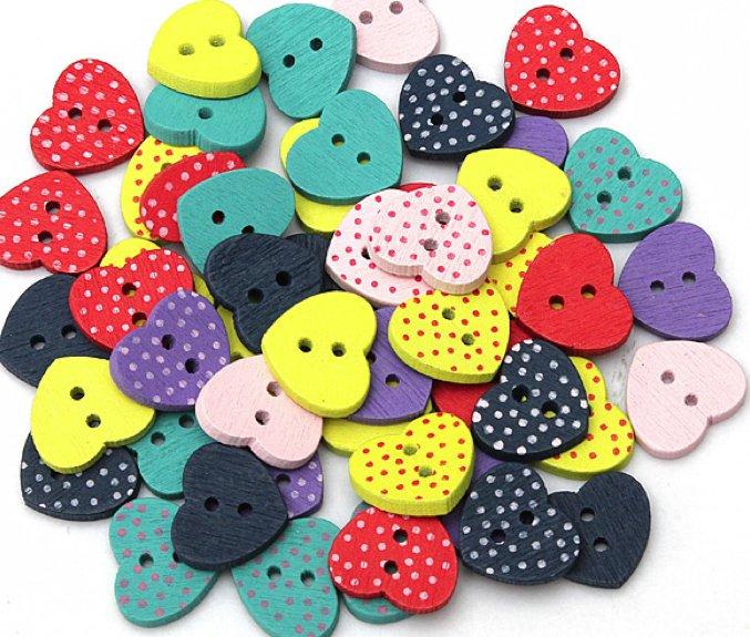 50pcs heart wooden buttons