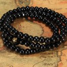 Black buddha beads necklace