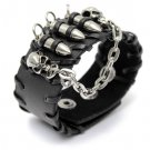 skull head black leather punk bracelet