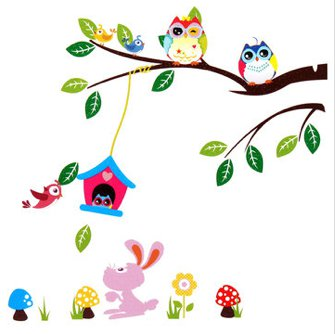owl bunny animals home decor wall sticker