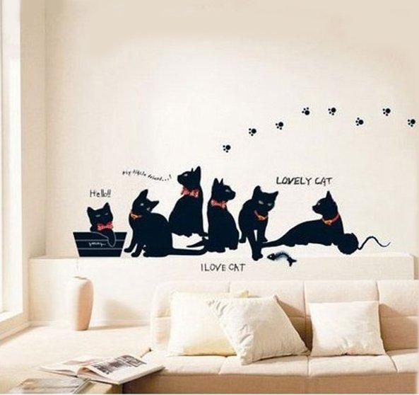 cute cat home decor wall sticker
