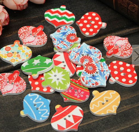 40pcs wooden buttons christmas style