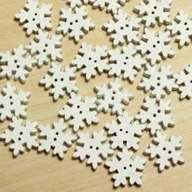 50pcs white wooden buttons