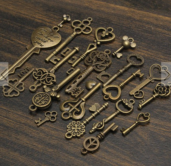 19pcs key diy jewelry charm pendants