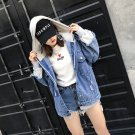 women denim patchwork Hoodies jacket