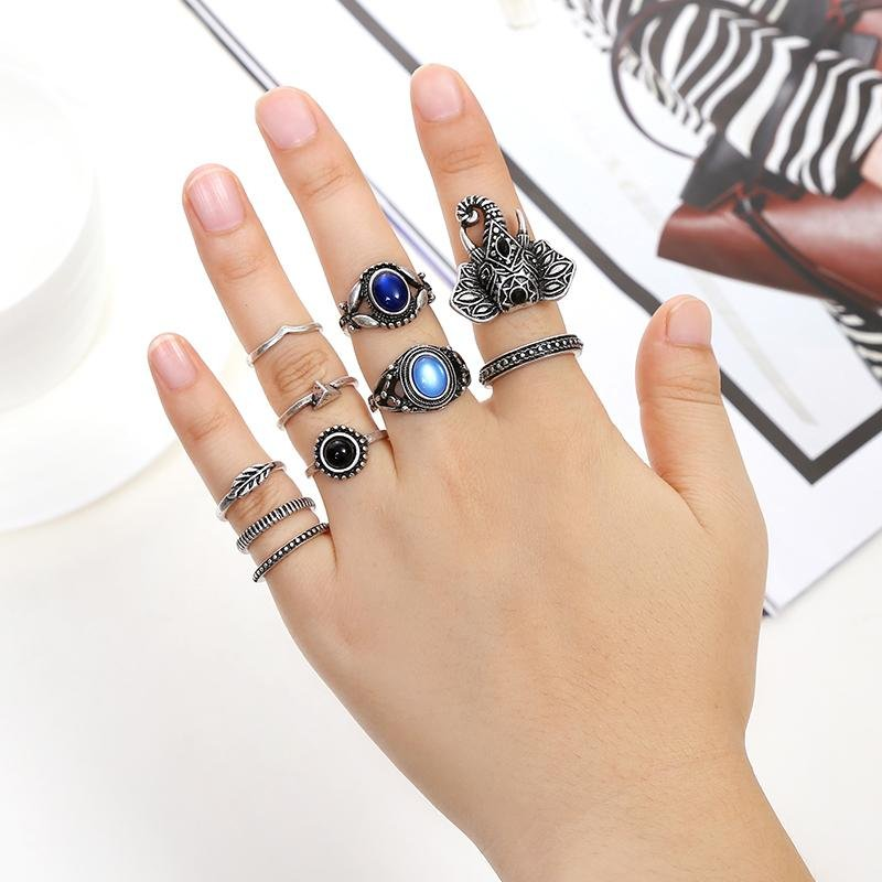 10pc silver plated rings