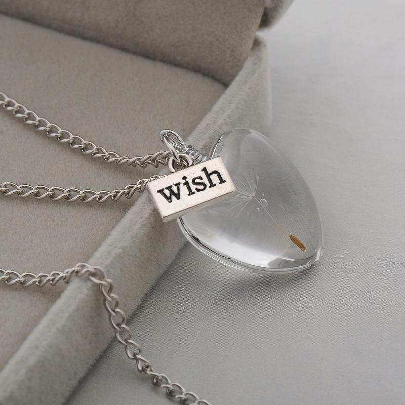 silver glass pendant necklace