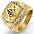 men fashion GOLD titanium steel ring