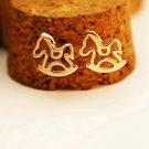 women girl cute gold plated horse earring