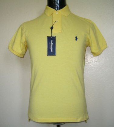 Authentic Ralph Lauren Men's CUSTOM FIT Polo Mesh Shirt, Yellow, LARGE, NEW