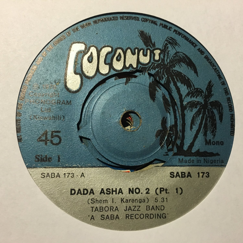 "TABORA JAZZ 45 dada asha pt 1 & 2 KENYA mp3 LISTEN COCONUT 7"""