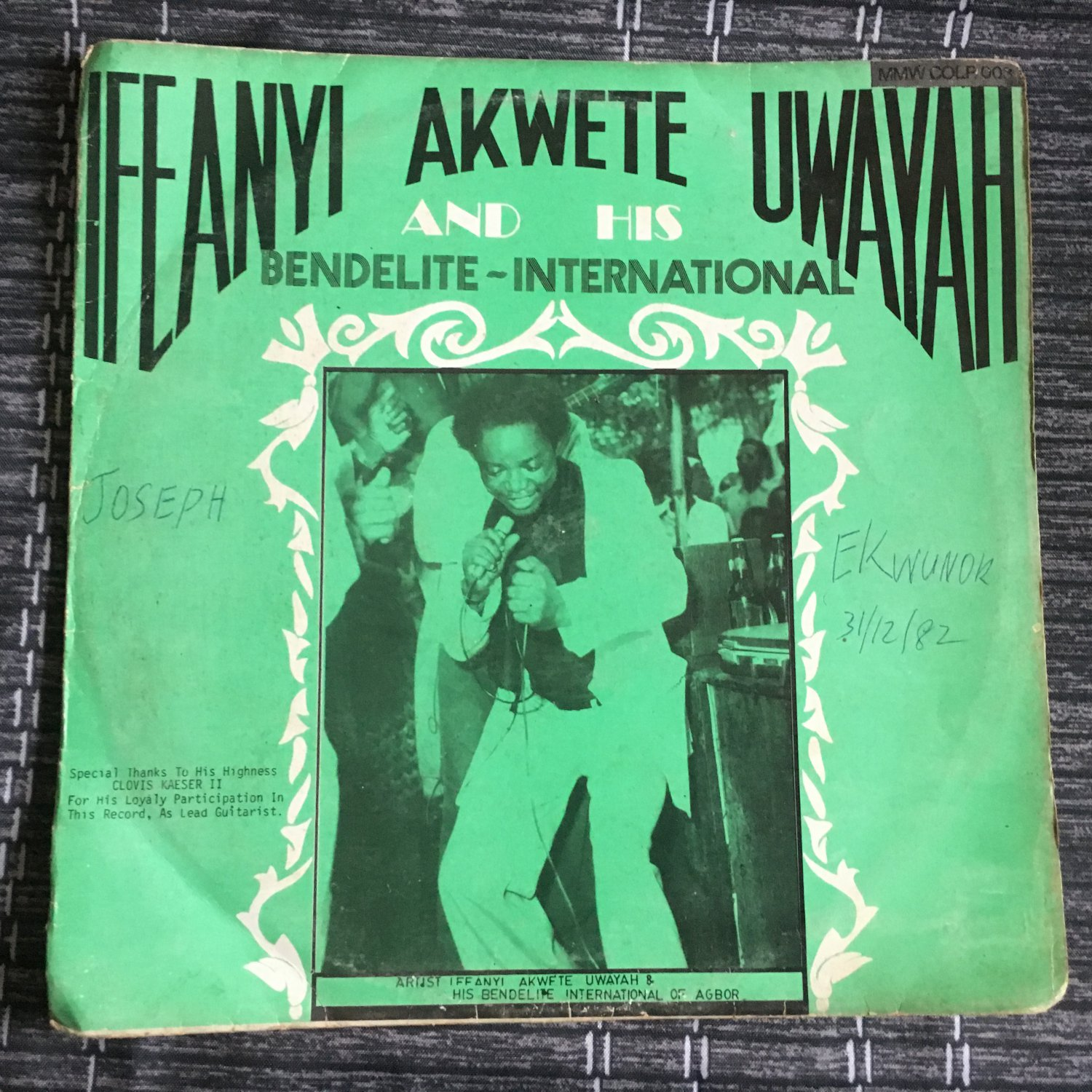 IFEANYI AKWETE UWAYAH & HIS BENDELITE INT. LP same NIGERIA mp3 LISTEN