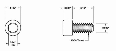 Silver 2-56 Thread 3/16 Screws for Handle Standoffs x10