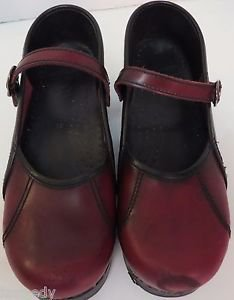 Womens DANSKO Mary Jane Shoes Size 39 Burgundy Leather Clog Shoe Red Cranberry
