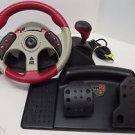 Mad Catz MC2 Universal Racing Wheel & Pedals Set XBox PS2 PS1 GameCube Red 6320
