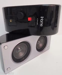 x2 iHome iH52 Stereo Speaker Set Black Gloss Small Wired Dual Drivers Wall-Mount