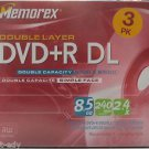 Memorex 3 Pack DVD+R DL Double Layer 8.5 GB 240 min Video 2.4X New Sealed ! 3pk