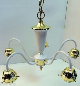 5 LIGHT Gold/Brass CHANDELIER Ceiling Fixture Classic Standard Design No Glass