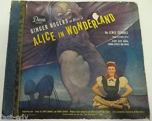Alice in WonderLand Vintage Vinyl Record Ginger Rogers 78 RPM Album (1 Cracked)