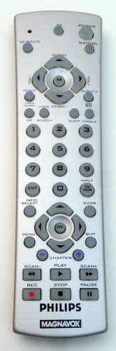 Phillips Magnavox Silver Remote Control VCR DVD Satellite Cable Buttons