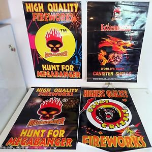 Lot x4 Fireworks Modern Poster Four Firecrackers MegaBanger Great Grizzly