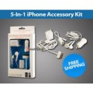 A.E Electronics 5 In 1 USB Charger Set For Apple iphone 4Gs 3G 2G