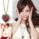 Jewelrycut Retro Vintage Red Elegant Heart Necklace Pendant Angel