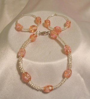 PINK AND SILVER BRACELET AND EARRINGS