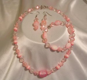 PINK NECKLACE EARRINGS & BRACELET