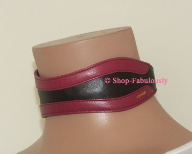 New Authentic PRADA Black Pink Leather FAIRY Runway Ad Campaign CHOKER Necklace RARE - FREE US Ship