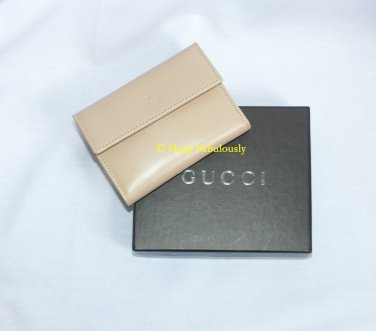 Authentic GUCCI Light Tan Leather Classic Compact Business Card Case NEW in Box - FREE US Shipping