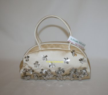 Authentic PRADA Yellow Silk Satin Beaded Flowers Small BOWLING Evening Bag Purse - FREE US Shipping