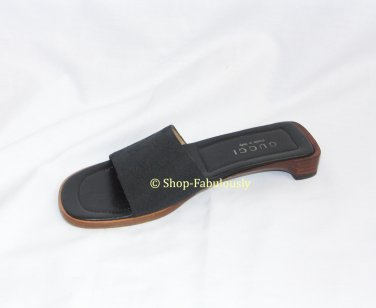 New Authentic GUCCI Black GG Monogram  Simple Classic LOGO Slides Mules Sandals Shoes 5 35 FREE Ship