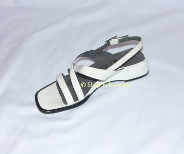 Authentic BALLY Switzerland White Leather Classic STRAPPY Low Wedges Sandals Shoes 5 35 FREE US Ship