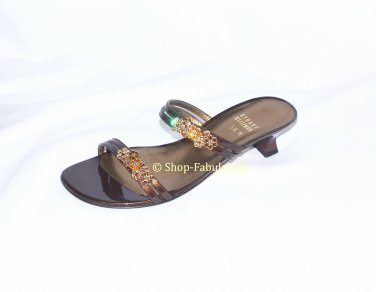Authentic STUART WEITZMAN Bronze Patent Leather CRYSTAL Slides Sandals Shoes 5.5 35.5 - FREE US Ship