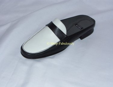 New Authentic STUART WEITZMAN Black White Leather LOAFER Mules Shoes 5 35 - FREE US Ship