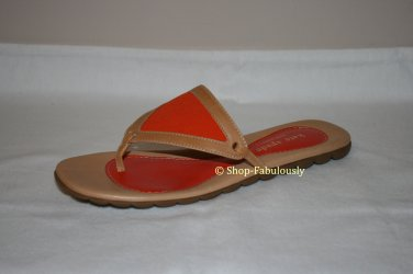 New Authentic KATE SPADE Orange Tan Classic RIPPLE Leather Slides Thong Sandals Shoes 5 35 FREE Ship