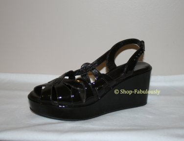 New Authentic CORDANI Brown Patent Leather CUT-OUT Sandals Shoes Platform Wedges 35 5 - FREE US Ship