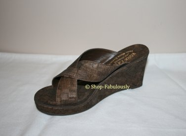 New Authentic KORK EASE Brown Cork GEENA Slides Wedges Sandals Shoes 5 35 - FREE US Ship