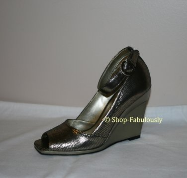 New Authentic NATURALIZER Sexy Metallic Crackled Leather Wedges Pumps Shoes 5.5 35.5 - FREE US Ship