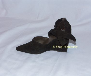 New Authentic TORY BURCH Dark Brown Suede Leather Wedges Pumps Shoes 5 35 - FREE US Ship