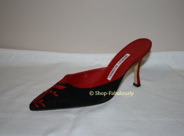 New Authentic MANOLO BLAHNIK Red Black Embroidered Suede Leather Stiletto Mule Shoe 35.5 5.5